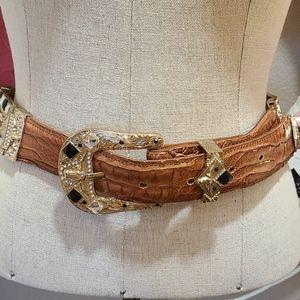 Vintage Leather Crystal Longhorn Belt